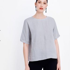 ELK French linen box top, Grey, short sleeve Size8